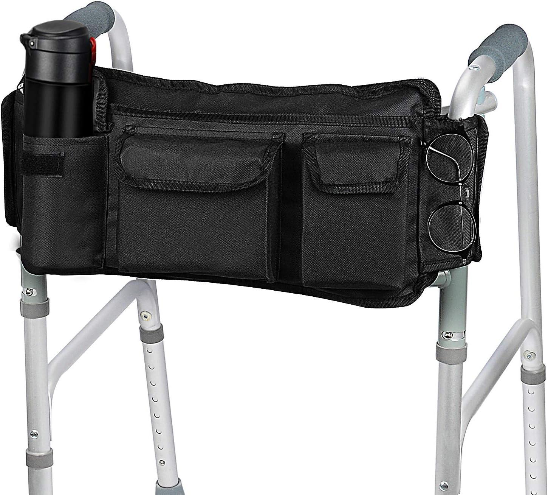 [Versión Revisada] SupreGear Walker Bag, Bolsa para Organizador Cesta Plegables para Cualquier Tipo Andador/Rollator/Silla de Ruedas, Gancho y Bucle Actualizado, Fácil Acceso Bolsillo Cremallera