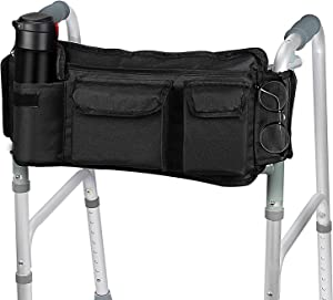 [Revised Version] SupreGear Walker Bag, Folding Walker Basket Organizer Pouch Tote for Any Walker Style Rollator and Wheelchair, Updated Hook & Loop Design, Easy Access to Zipper Pocket (Black)
