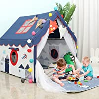 YOIKO Kids Tents Indoor Playhouses Boys 9.9Ft Star String Lights Blue Tent for Boys Upgraded Large Kids Indoor Tents and…