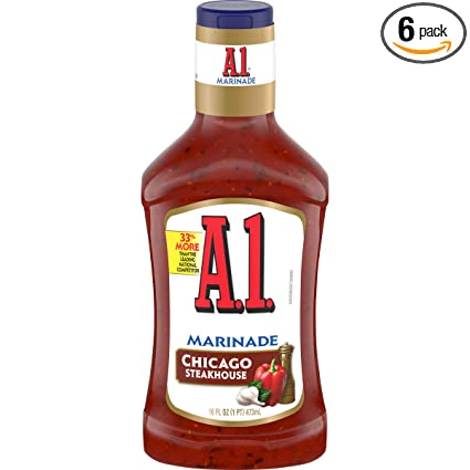 Amazon Com A 1 Steakhouse Chicago Marinade 16 Oz Bottles Pack Of 6 Steak Sauce Condiments Grocery Gourmet Food