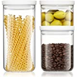 Freyian Glass Canisters - Set of 3 Food Storage Borosilicate Containers with Lids - Airtight & Stackable Clear Kitchen Organi