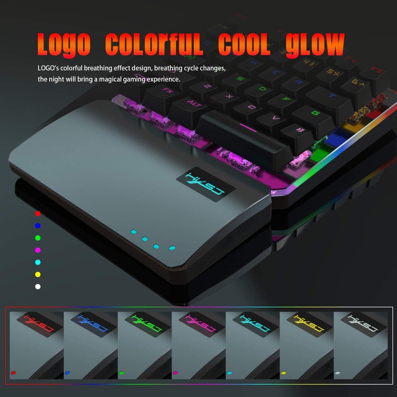 Hoopond Teclado para videojuegos con una sola mano, reposamanos ancho con 35 teclas, pequeño teclado mecánico con una sola mano, retroiluminación de ...