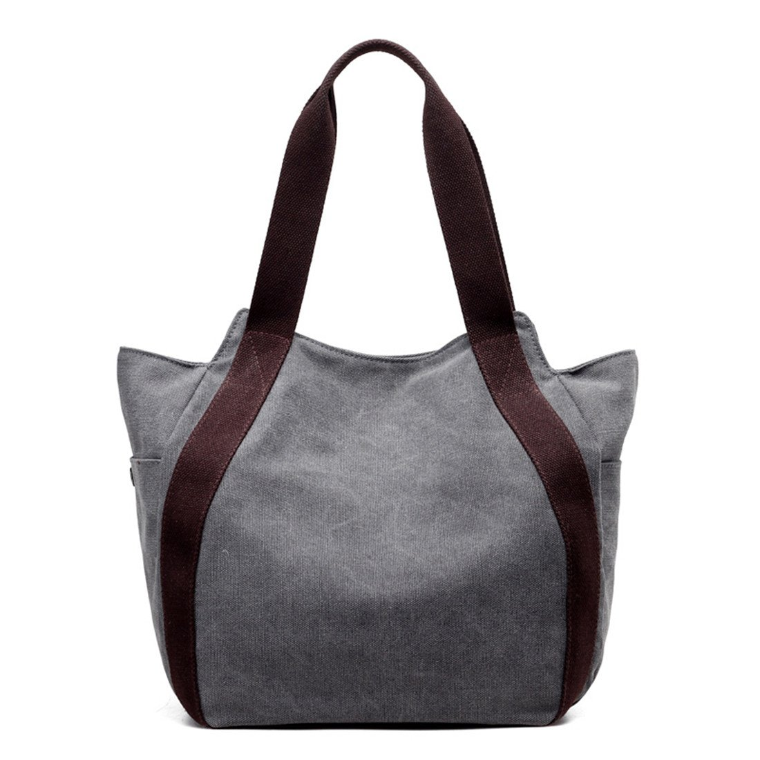 Genbagbar Tote Bag Canvas Top Handle Bags Casual Travel Shoulder Handbag for Women (Grey)
