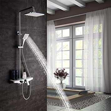 Columna Ducha moderna con bandeja almacenamiento y grifo bañera ...