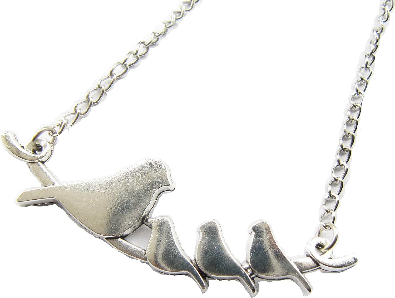 Mother/'s Day Gift \u00b7 Bird Family Necklace \u00b7 Jewelry \u00b7 Mama Bird and Baby Birds \u00b7 Gift for Mom \u00b7 Mixed Metal \u00b7 Silver Necklace \u00b7 Coworker Gift