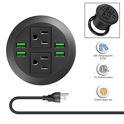 Desk Power Grommet Outlets with USB Ports, Recessed Power Strip Socket,  Inserting 2 Plug 6.5 ft Extension Cord for Conference Room Office Kitchen  ...