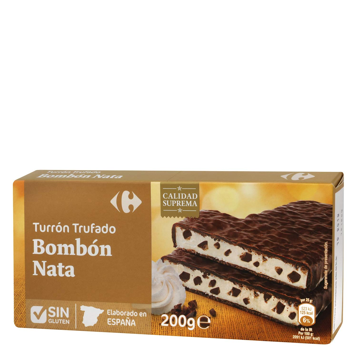 Carrefour Truffled Spanish Nougat with Cream - 5 Pack - Made in Spain - Chocolate & Candy - Traditional & International Sweets - Gluten-Free - Turron: ...