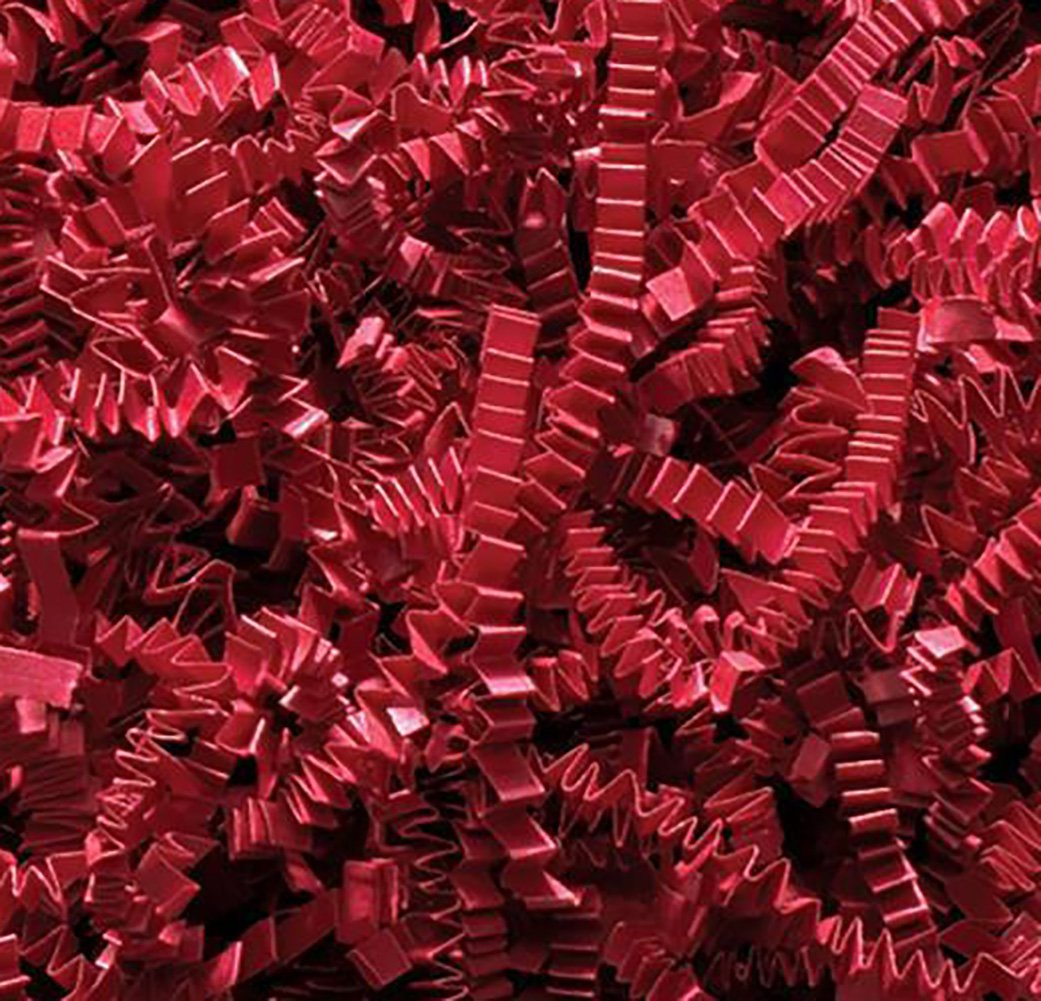 Custom & Unique {10 Pound} of Crinkle Cut Shredded Gift Basket Filler Paper w/ Cool Bright Simple Artistic Festive Wintertime Seasonal Patriotic Fun Decorative Creative Modern Design (Red)
