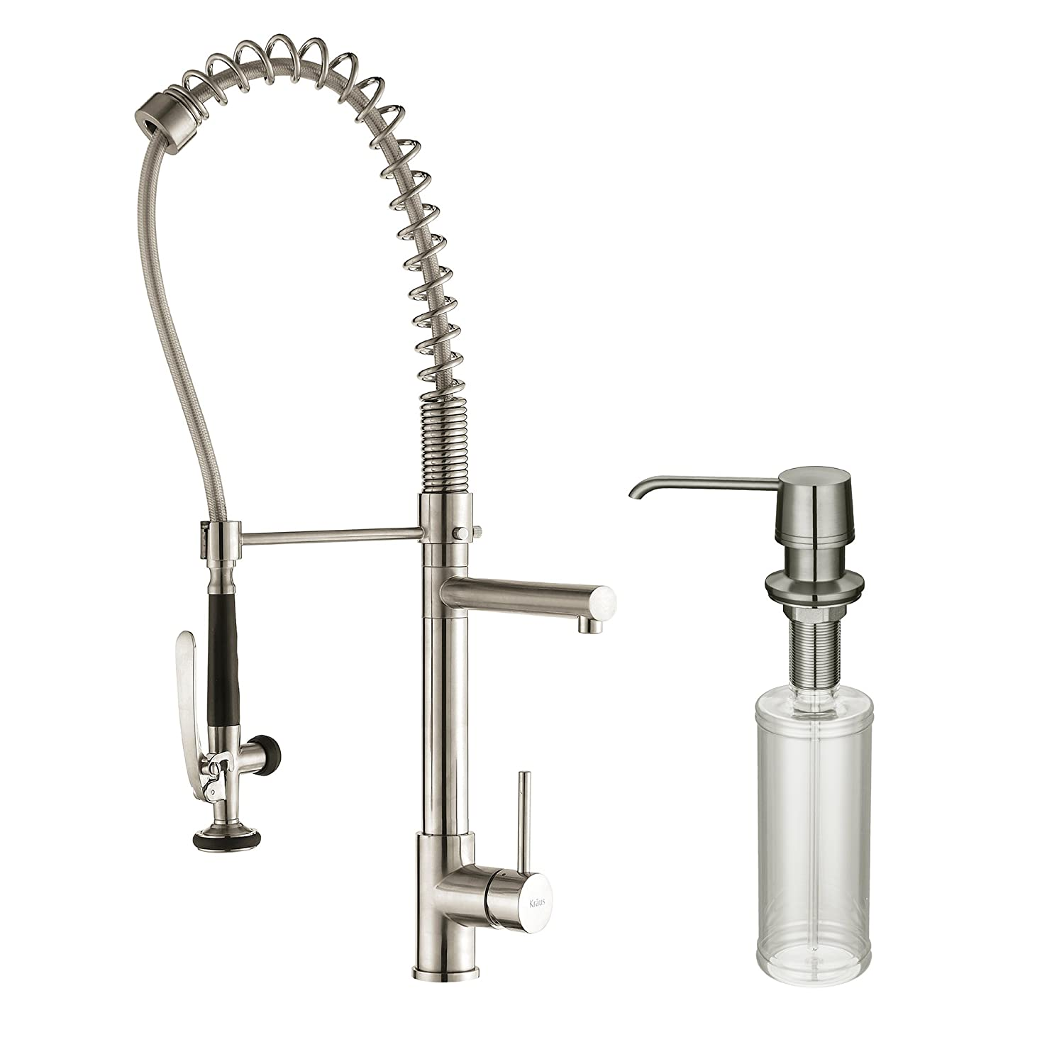 Kraus Single Handle Pull Down Kitchen Faucet Commercial Style Pre-rinse in Stainless Steel Finish and Soap Dispenser