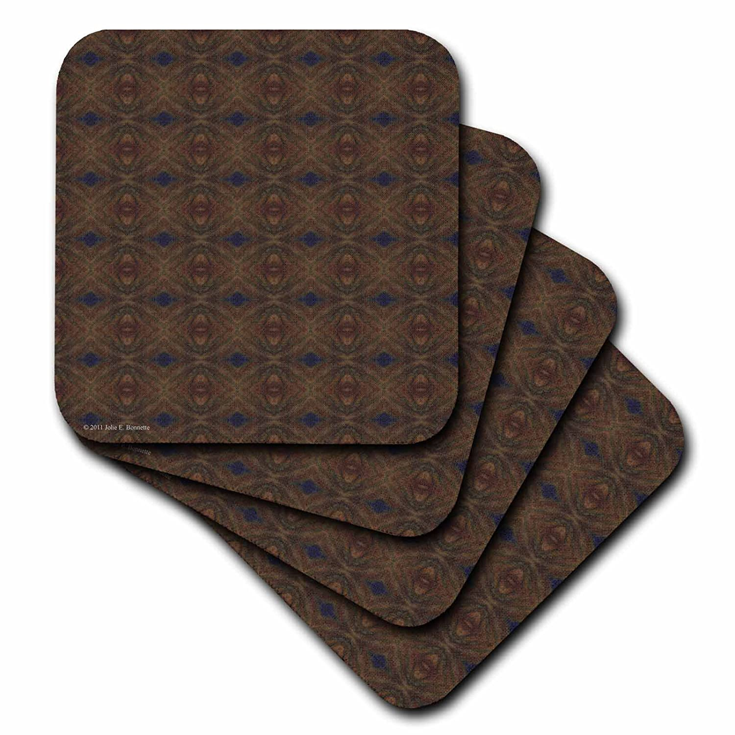 Set of 4 3dRose cst/_30750/_3 Moroccan Night Abstract Pattern Geometric Textile-Ceramic Tile Coasters
