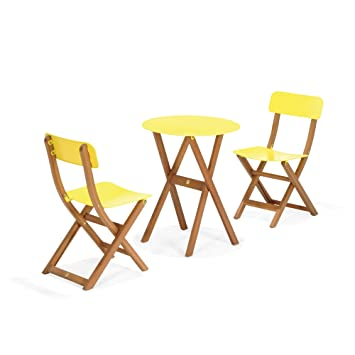 Urban out Ensemble 2 chaises et 1 table de jardin jaune Jaune ...