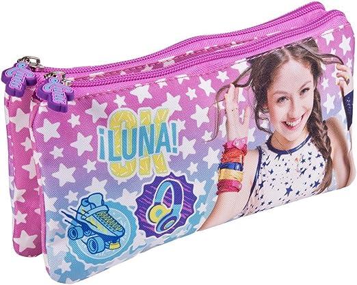 PERLETTI Estuche Escolar Niña Disney Soy Luna - Bolsa Portatodo para Lapices con Estrellas Blancas - Practico Estuche 2 Pisos Doble Neceser para la Escuela Guarderia Viaje - Rosa y Azul -