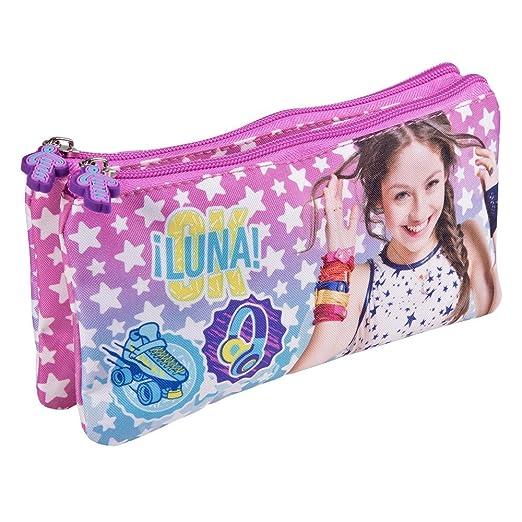 Estuche escolar Niña Disney Soy Luna - Bolsa portatodo para lapices con estrellas blancas - Practico estuche portatodo para la escuela y de viaje - Rosa y ...