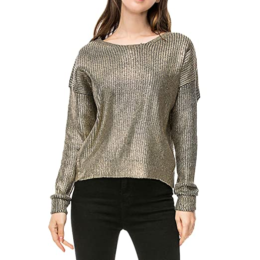 5d415f69ec4f79 Women Fashion Loose Gold Metallic Knit Sweaters Pullovers Winter Tops at  Amazon Women's Clothing store: