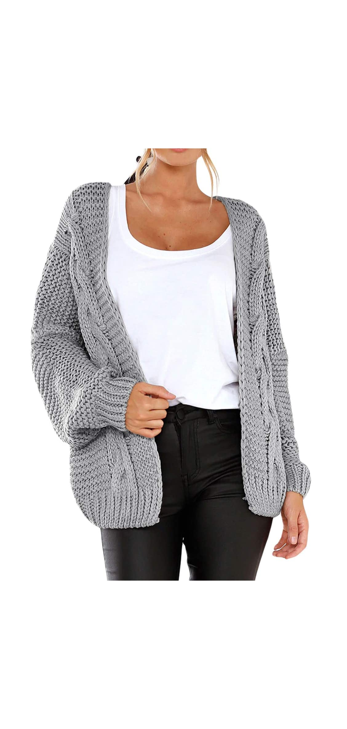 Womens Cardigans Long Sleeve Open Front Knitted Outwear