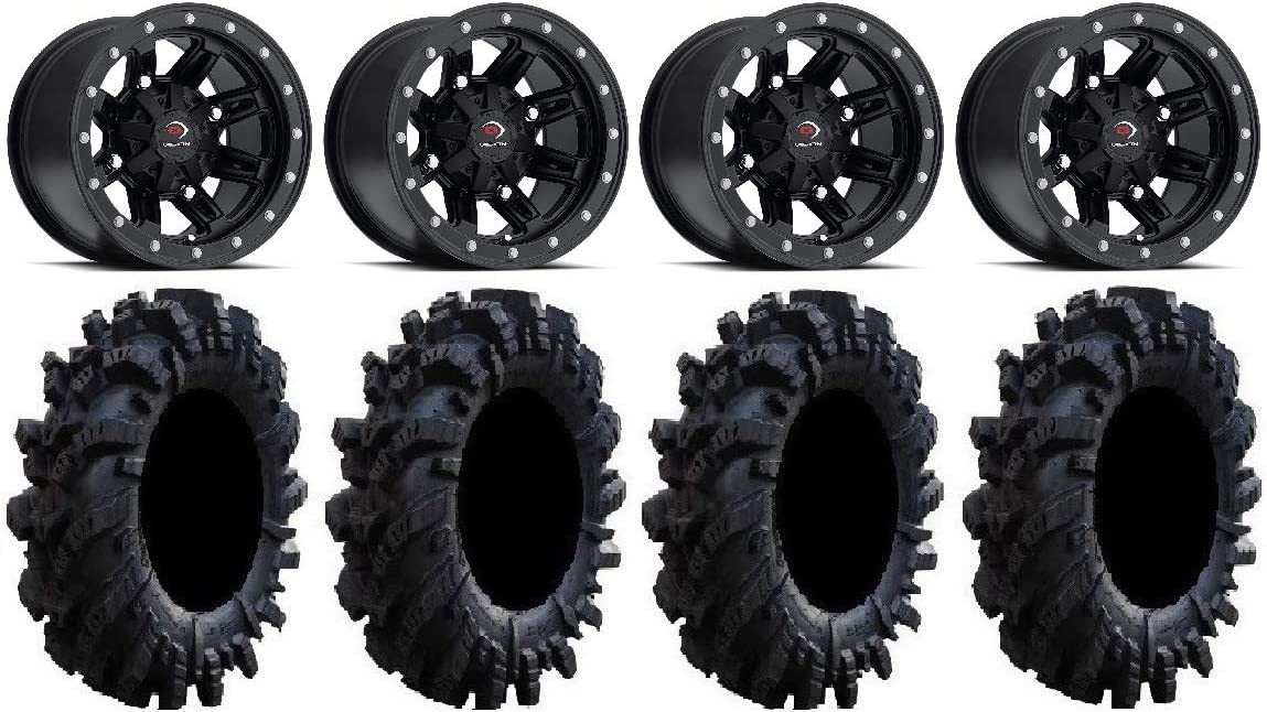 4x156 Bolt Pattern 12mmx1.25 Lug kit Bundle Vision Five-Fifty Black 14 Wheels 30 Intimidator Tires 9 Items