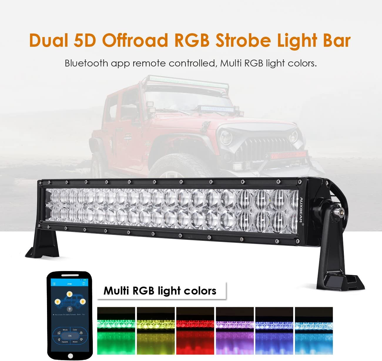 Auxbeam 22 2021 new Inch LED Light Bar RGB 5D Multi-Color Curved Today's only