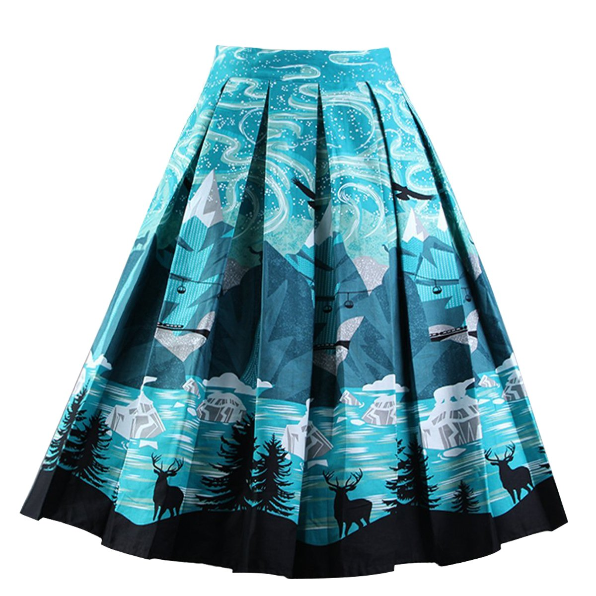 Girstunm Women's Pleated Vintage Skirt Floral Print A-Line Midi Skirts with Pockets Night-Sky XL
