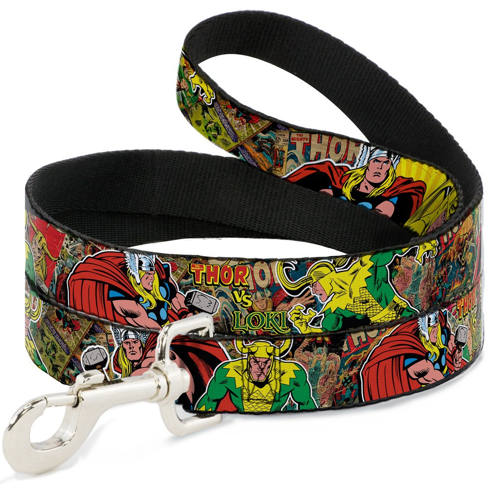 Buckle-Down Dog Leash Thor Loki Poses Retro Comic Books Stacked 6 Feet Long 1.5 Inch Wide by Buckle-Down