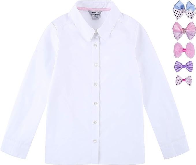Bienzoe Niñas Uniforme Escolar Oxford Manga Larga Blusa Corbata de ...