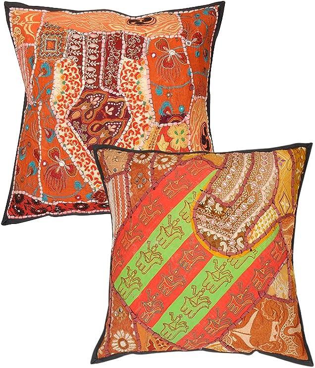 RAJRANG Funda de cojín, algodón, marrón: Amazon.es: Hogar