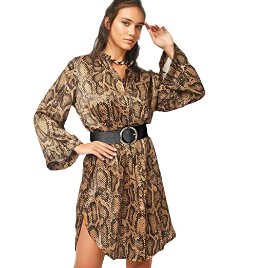 AKwell Women Sexy Serpentine Leopard Print Dress Casual Streetwear A-Line  Dresses with Belt at Amazon Women s Clothing store  d152814012