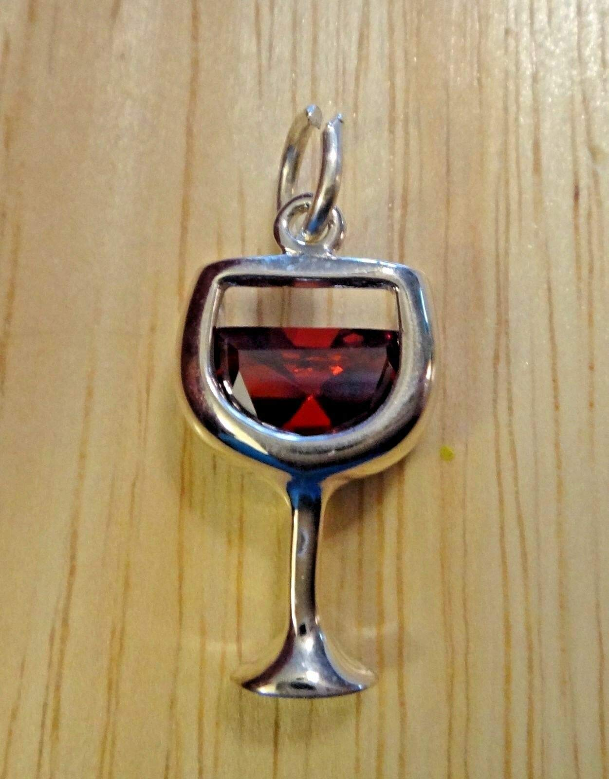 Fine Charms Sterling Silver 22x11mm Red Wine Glass with CZ Crystal