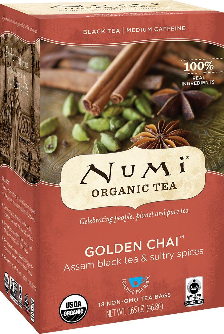 Numi Organic Tea Golden Chai, 18 Bags, Spiced Organic Black Tea in Non-GMO Biodegradable Tea Bags, Premium Fair Trade Assam Black Tea Blended with Chai Spices, Drink Hot or Iced