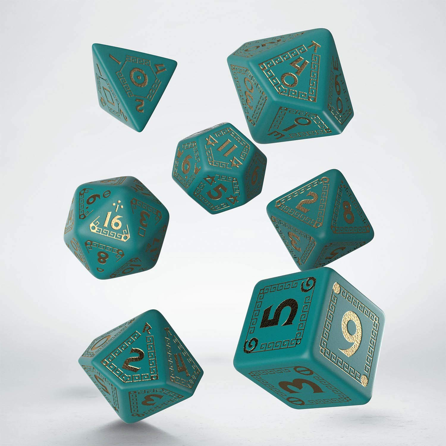 Q-Workshop QWORQU97 RuneQuest Turquoise/Gold Dice Set 7 Multi-Coloured Pegasus Spiele