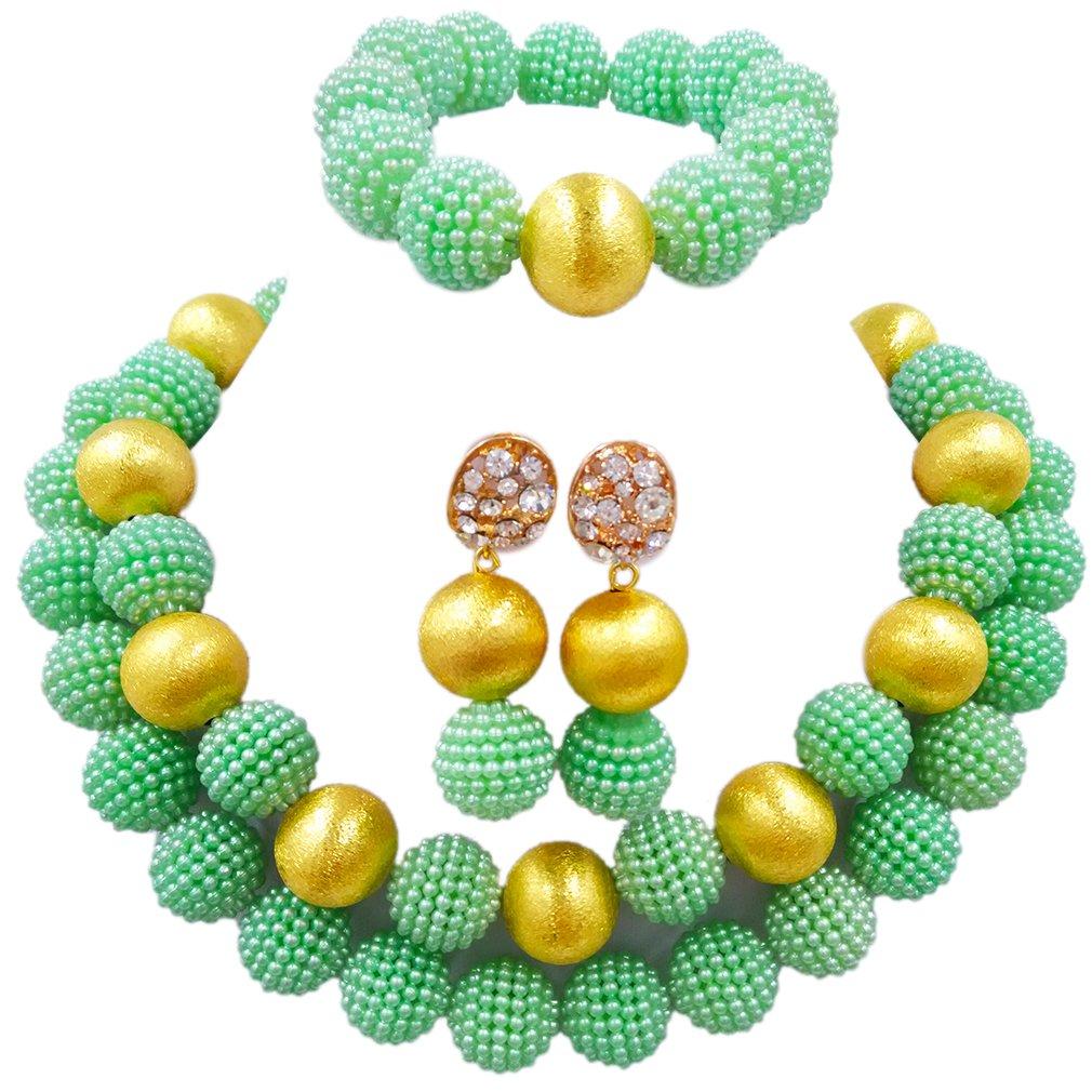 Laanc Parure de bijoux en imitation perles du Nigeria 2couches Multicolore A0006