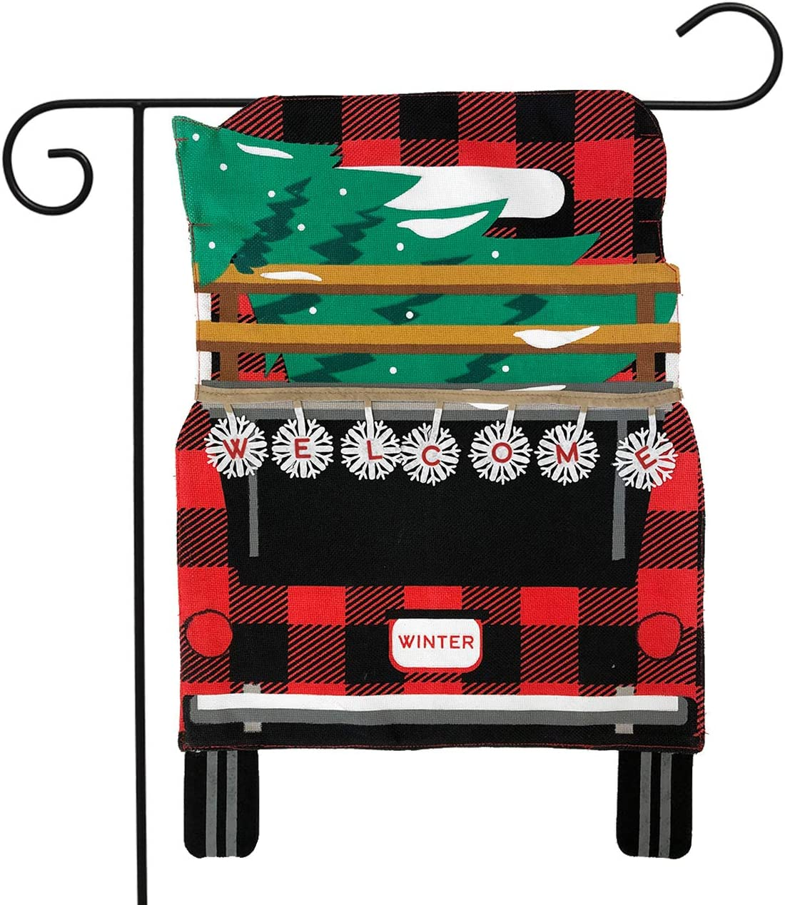 "Briarwood Lane Red Checkered Truck Christmas Burlap Garden Flag Holiday Tree 12.5"" x 18"""