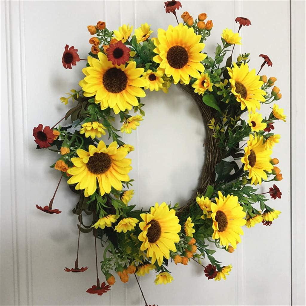 liaobeiotry Artificial Flowers Sunflower Wreath Spring Wreath Outdoor for Front Door D/écoration de No/ël ext/érieure