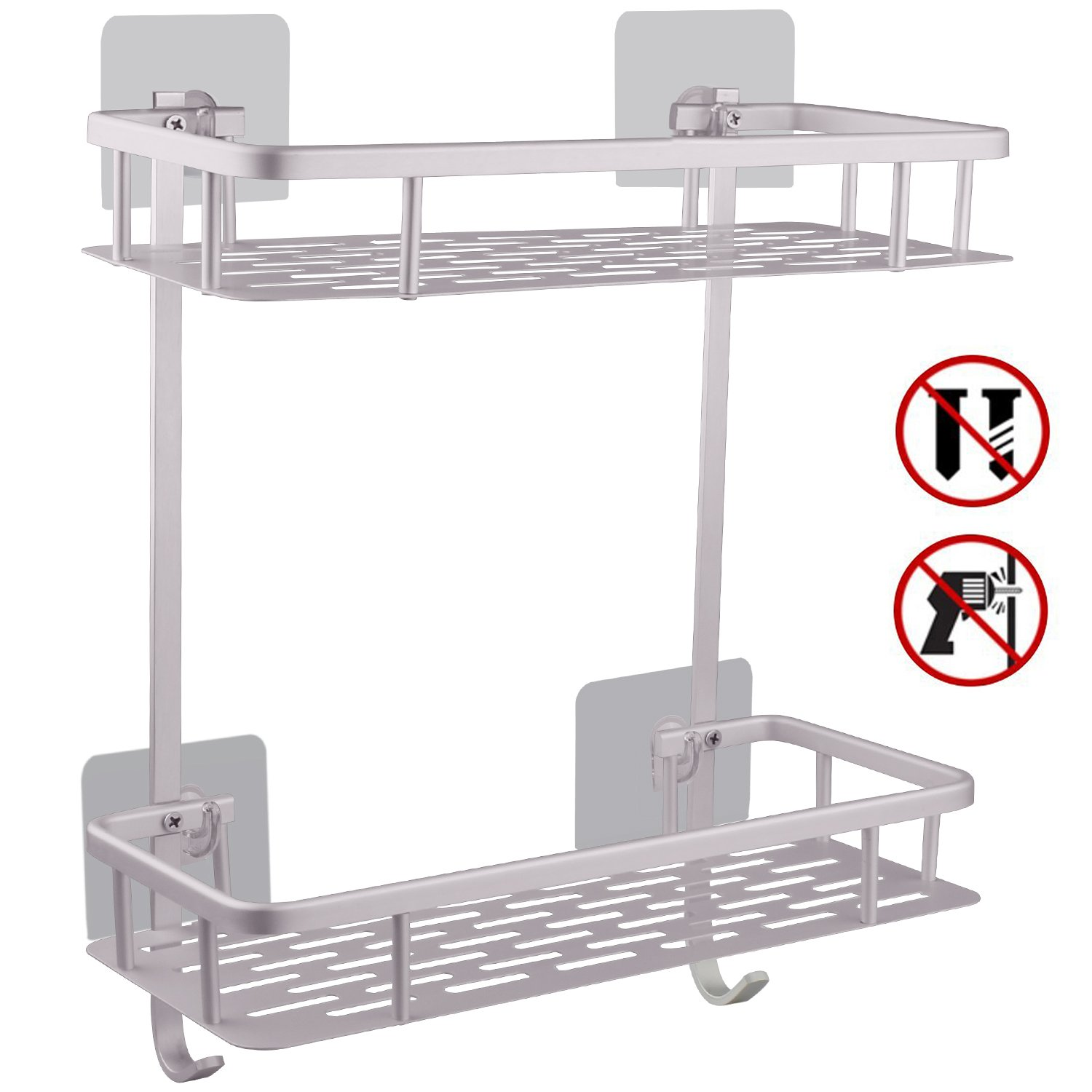Hawsam No Drilling Bathroom Shelves, Aluminum 2 Tier Shower Shelf Caddy Adhesive Storage Basket for Shampoo