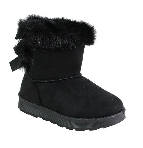 b52edccc1b514 By Shoes Bottine Fourrée Style Daim Pour Enfant- Taille 28 - Black