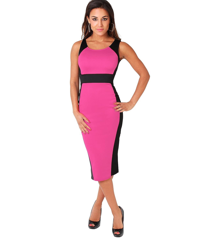 KRISP Damen Kleid Stretch Kontrastfarben figurbetont midi