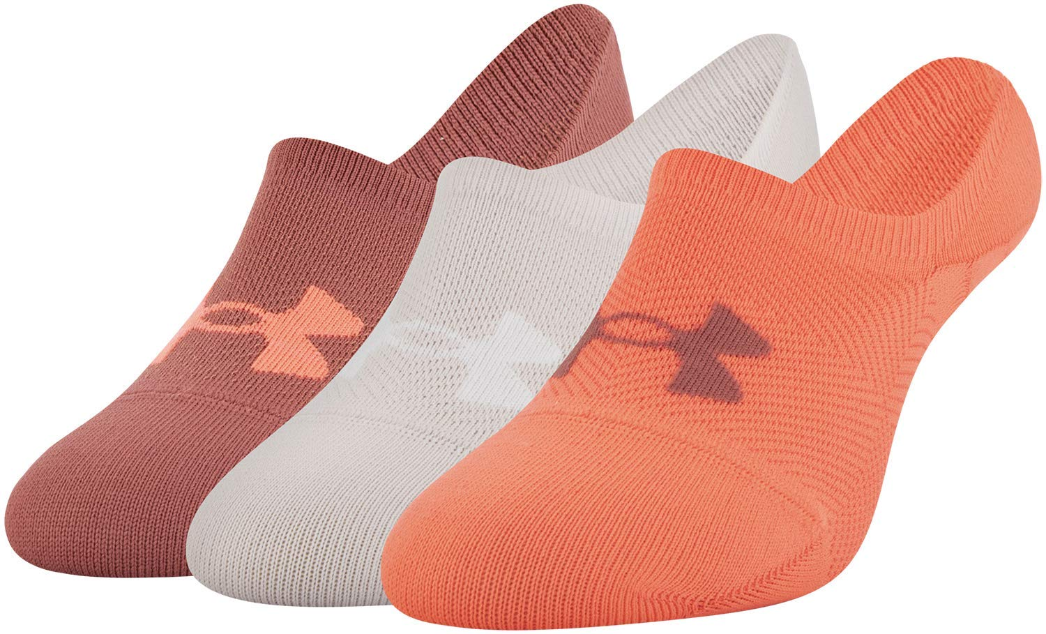 Under Armour Essential Ultra Lo Socks, 3-Pair, Peach Plasma Assorted, Shoe Size: Womens 6-9 by Under Armour