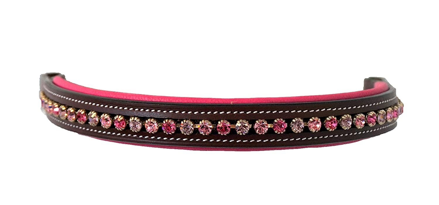 Equitem Horse Size Leather English Bridle Pink Padded Browband with Pink Round Crystals
