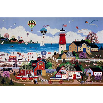 Queenie 1000 Piece Jane Wooster Scott Americana Carnival Happy Town Coastal Lighthouse Wooden Jigsaw Puzzles for Adults Family Games: Toys & Games