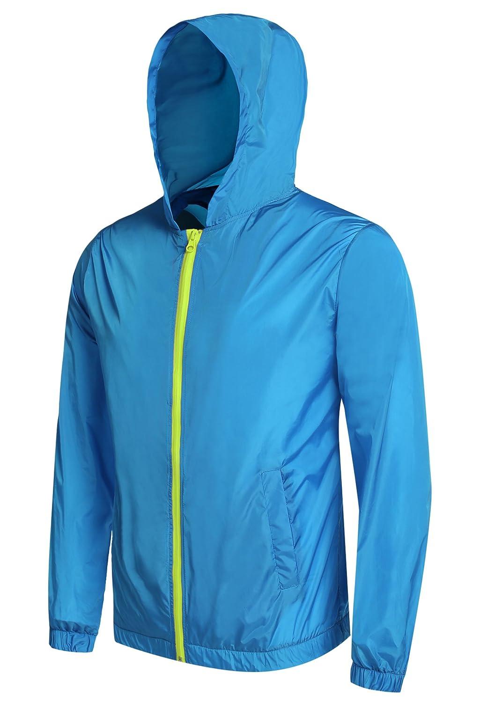 Detailorpin Men's Waterproof Rain Jacket Lightweight Hooded Outdoor Running Cycling Packable Raincoat 526007766