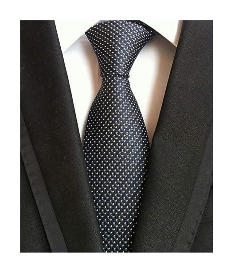 a2d81b1d988a Men's Black Navy Blue Patterned Silk Ties Classic Ribbed Designer Luxury  Necktie