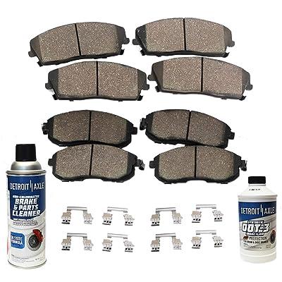 Detroit Axle - FRONT & REAR Ceramic Brake Pads w/Hardware, Brake Fluid & Cleaner Not for Brembo Brakes or Spec-V Models: Automotive