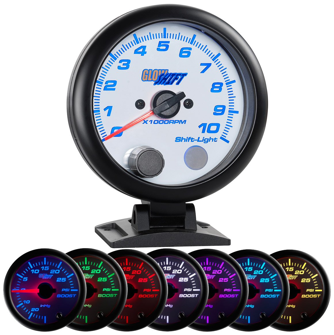 GlowShift White 7 Color 10, 000 RPM Tachometer Gauge - For 1-10 Cylinder Gas Powered Engines - Built-In Shift Light - Mounts On Dashboard - White Dial - Clear Lens - 3-3/4' 95mm GlowShift Gauges GS-W709-SM