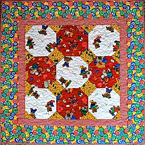 """Baby Bear Baby Quilt, Handmade Lap Quilt, Quilted Throw, Modern Patchwork Quilt for Sale, Homemade Quilt - Unisex - 34"""" x 34"""""""