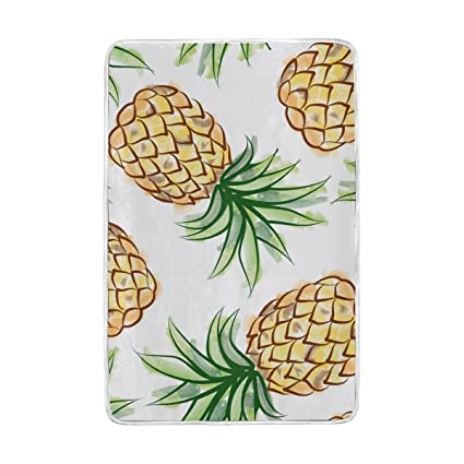08b2ee86a89c Amazon.com: ALAZA Pineapple Watercolor Exotic Tropical Blankets ...