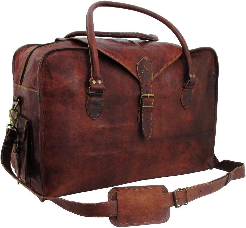 Vintage Retro Men Genuine Leather travel duffle weekend bag lightweight luggage