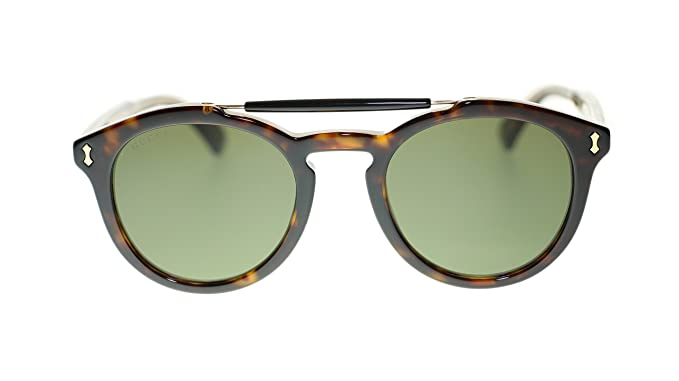 f2d4d1d12e Image Unavailable. Image not available for. Colour  Gucci Women Round  Sunglasses GG0124S 002 Havana Green ...