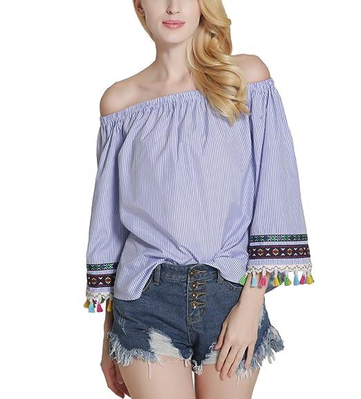 Atractivo Moda Blusa Camiseta Casual Elegante Verano Playa Cuello Barco Mangas Largas Borla Empalmar para Mujer: Amazon.es: Ropa y accesorios