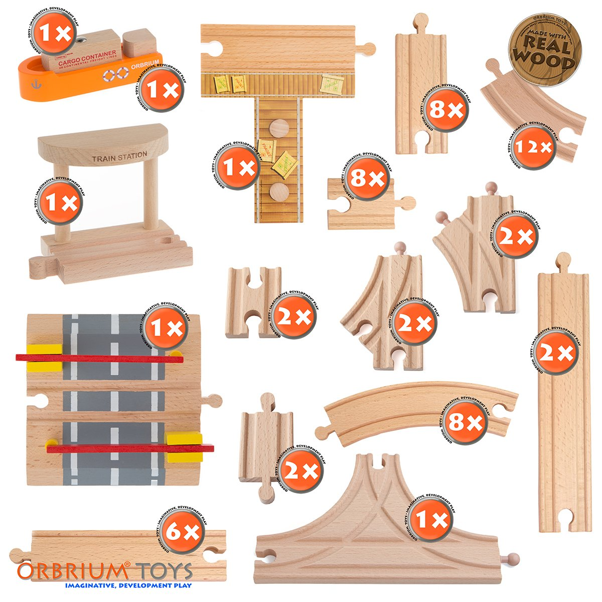 58 piece wooden train track expansion pack featuring container ship ship dock 696230071530 ebay. Black Bedroom Furniture Sets. Home Design Ideas