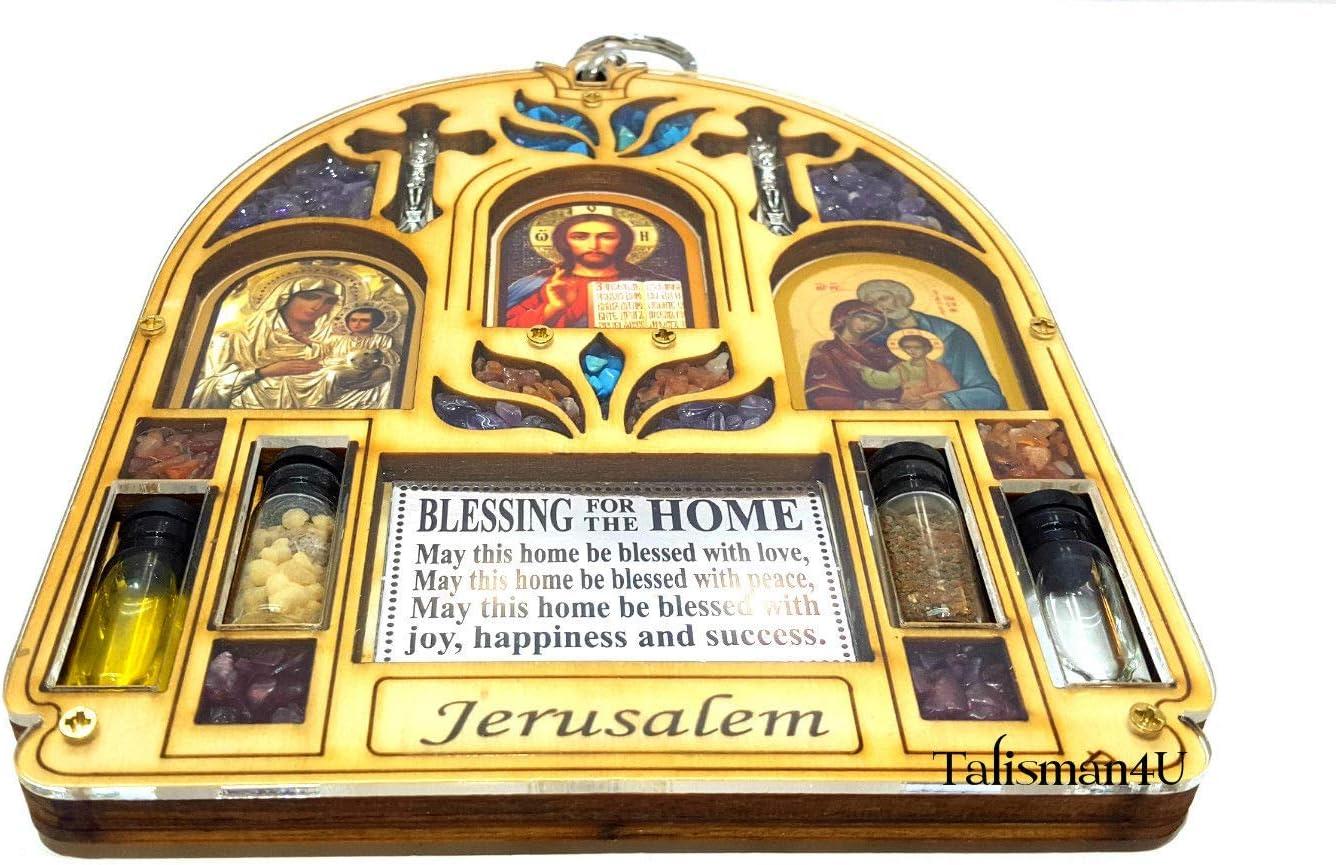 Talisman4U Home Blessing Wall Decor Jesus Blessed Virgin Mary Icon Holy Water /& Jerusalem Soil Catholic Holy Land Gift