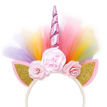 Amazon.com: COONOE, diadema de unicornio con orejas y flores ...